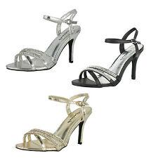 S325 - Ladies Diamante High Heeled Strappy Evening Wedding Shoes - UK 3 - 8
