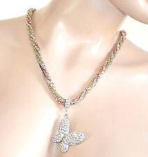 COLLANA donna girocollo argento oro rosa strass ciondolo farfalla regalo F255