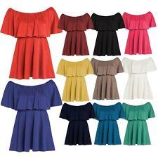 New Ladies Plus Size Flared Peplum Frill Off Shoulder Skater Dress 8-22
