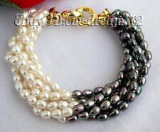"""6strands 8"""" 6mm white black rice freshwater pearl bracelet"""