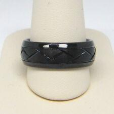 TRITON MEN'S 8.0MM COMFORT FIT DIAMOND CUT BLACK TUNGSTEN WEDDING BAND