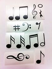 SET 14 ADESIVI 5x4cm NOTE STICKERS PRESPAZIATO MUSICA SUONO CHITARRA VIOLINO HOT