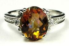 • SR136, 4.5 ct. Twilight Fire Topaz, Sterling Silver Ladies Ring - Handmade