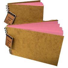 BRIGHT PINK wooden hardback cover scrapbook pad wirobound sketch book craft arts