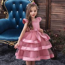 5701  Girl Kid O-neck Cap sleeve Beaded Bow Layered Mesh Pleated Party Dress
