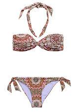 NEU H&M Bandeau o. Neckholder Bikini lila bunt Cups leicht gefüttert 34 36 38 40