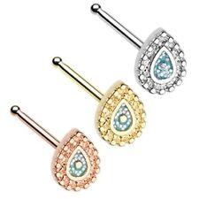 ORNATE TEARDROP 20G NOSE RING STUD BONE STEEL BODY PIERCING JEWELRY - (3 Colors)