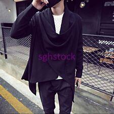 Stylish Mens Long Sleeve Loose Cloak Cape Cotton Blend Casual Coat Jacket e-71