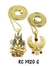 "Egyptian God Anubis, Horus Bird Pendant 24"",30"" Box Chain Hip Hop 2 Necklace Set"