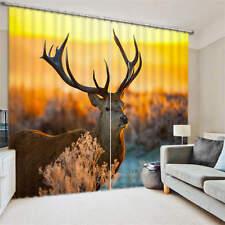 Xmas Deer Live Christmas 3D Curtain Blockout Photo Curtains Print Home Window De
