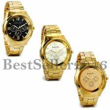 NEW Luxury Men Gold Tone Band Stainless Steel Analog Quartz Fashion Wrist Watch