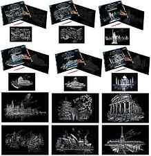 LARGE A3 SILVER ENGRAVING ART KITS & SCRAPER TOOL 12 FAMOUS WORLDWIDE LANDMARKS