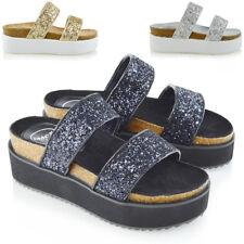 Sandalias de tacón para mujer con cuña plataforma Damas Zapatos planos de dos correa de vacaciones de verano