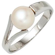 Damen Ring 925 Sterling Silber rhodiniert 1 Süßwasser Perle Perlenring NEU