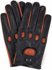 Riparo Genuine Leather Full-Finger Driving Gloves - Black/Cognac