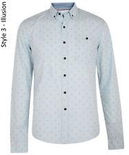Smith & Jones Mens New Long Sleeve Slim Fit Shirts Print Casual Small S Sky Blue