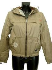 Giubbotto donna ONYX Jeans tg. 40 Sabbia Nylon Imbottito Pile Cappuccio Jacket