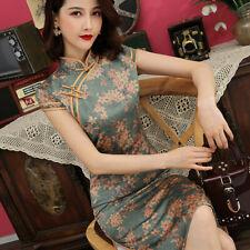 Chinese Traditional Qipao Women Sexy Silk Short Dress Prom Cheongsam Size M-4XL
