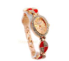 18K Rose Gold Plated Crystal Rhinestone enamel Bracelet Dress Designer Watch