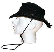 Nuevo Sombrero De Cuero Australiano Bush Sombrero de vaquero negro correa de Showerproof Impermeable