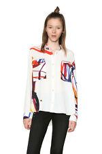 Desigual caicara Shirt XS-XXL UK 8-18 UVP? 74 weiß & hell Aquarell Malen