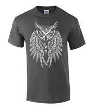 Mens Animals Owl Skulls Fantasy Graphic Short Sleeve  T Shirt