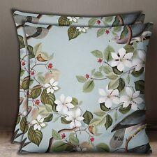 S4Sassy Decorative Cotton Bird & Floral Print Baby Pillow Cushion Cover 2 Pcs