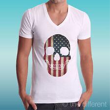 "T-SHIRT UOMO a V "" TESCHIO AMERICA FLAG  SKULL "" IDEA REGALO ROAD TO HAPPINESS"