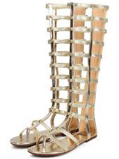 NEW Summer Trend Studded Open toe Gladiator Mid Calf Knee High Sandals Flat G11