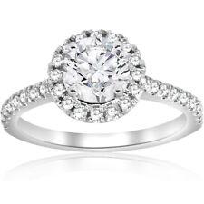 G/SI 1 Carat Round Diamond Halo Engagement Ring 14k White Gold Enhanced