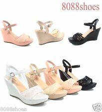 Women's  Mesh Open Toe Stiletto Platform  Wedge Heel Pump Shoes Size 5 - 10 NEW