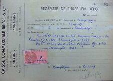 RÉCÉPISSÉ DE TITRES EN DÉPÔT ACTIONS SAINT-GOBAIN 1949 OMNIUM FRANCAIS PETROLE