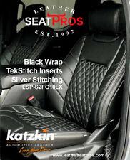 KATZKIN Leather Seat Covers 15-20 F-150 SuperCrew SuperCab XLT Black Tekstitch