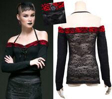 Top haut gothique lolita bijoux roses rouge épaules nues dentelle mode Punkrave