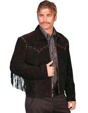 Scully Western Jacket Mens Boar Suede Zip Fringe Black 221-19