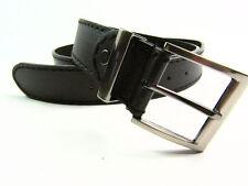 "Mens High Quality black Leather Belt Gun Metal Buckle 1.5"" Stitching detail"
