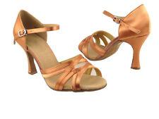 Latin Salsa Very Fine Ballroom Competitive Dance Shoes SERA1398 Tan Satin