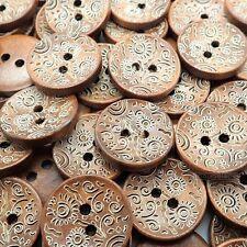 20mm Marroni Bottoni Legno natura con SOLE FIORI INCISIONE pulsanti