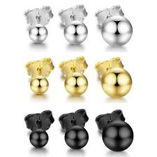 Kugel Ball Perlen Ohrstecker aus 925 Sterlingsilber - silber / gold / schwarz