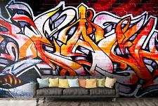 3D Energy,Warm-tones,Graffit i Self-adhesive Removable Wallpaper Room Wall Mural