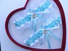 New Wedding Garter Light Turquoise White Fish Wedding Garter - GetTheGoodStuff