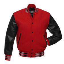 Stewart & Strauss Scarlet Red Wool & Black Leather Varsity Letterman Jacket New