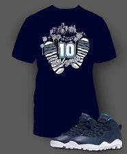 Tee Shirt to Match Air Jordan 10 Los Angeles Shoe Men Short Sleeve Pro Club
