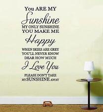 Vous êtes mes soleil Mur Autocollant Art Citation d'inspiration