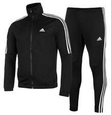Adidas 3 Stripe Herren Trainingsanzug Tracksuit Jogginganzug Schwarz Sport Neu