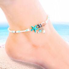 Boho Shell Starfish Anklet White Blue Pearl Beaded Ankle Bracelet Women Foot
