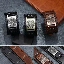Vintage Men's Norse Viking Compass Vegvisir Rune Leather Cuff Bracelet Jewelry