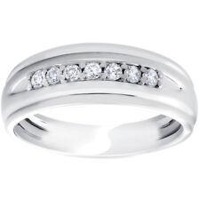 Mens 1/4ct White Gold 7 Stone Diamond Ring 10k Polished Wedding Anniversary Band