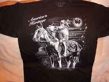 INDIAN ON HORSE HOLDING BULL SKULL AMERICA'S HERITAGE T-SHIRT SHIRT