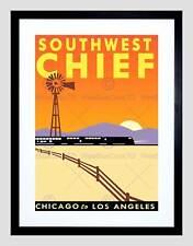 Rotaia di VIAGGIO TRENO FERROVIA RAILWAY Chicago Los Angeles incorniciato stampa b12x12403
